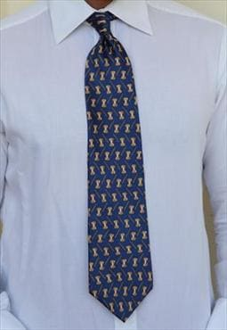 NEO Bill Blass Deep Electric Blue, Gold Tie