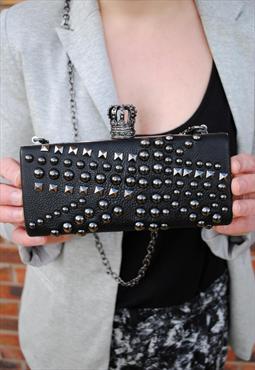 Black Heritage Studded Clutch Bag