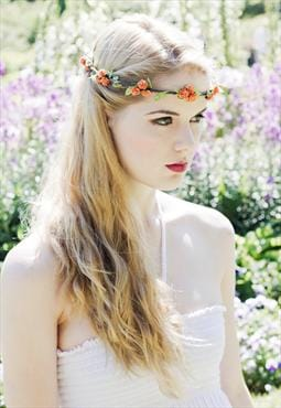 Orange Floral with Green Ivy Trim Leaf Head Crown/Garland