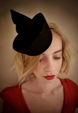 Upcycled Black Wool Felt Fascinator 'Purple Pixie'