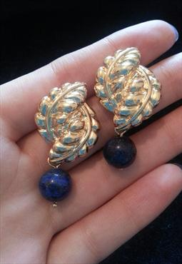 Vintage Style Leaves Earrings with Blue Stone