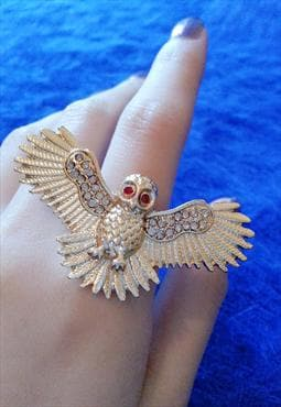 Luxury Gold Diamonate Owl Ring