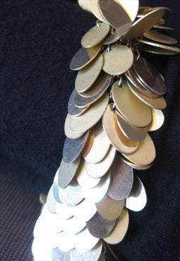 60s 70s Vintage Gold Oval Disc Chunky Statement Bracelet