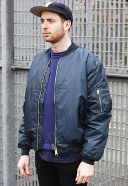 New MA1 Blue Reversible Zipper Bomber Jacket