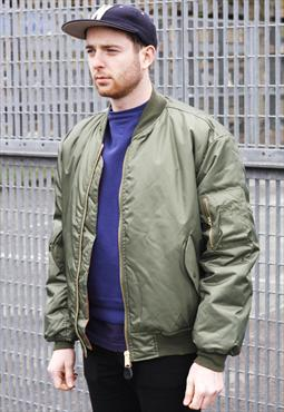 New MA1 Olive Reversible Zipper Bomber Jacket