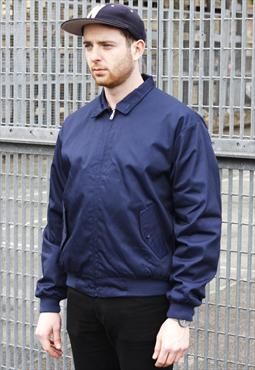 New Classic Navy Harrington Zipper Bomber Jacket
