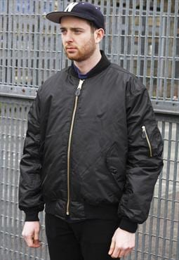 New MA1 Black Reversible Zipper Bomber Jacket