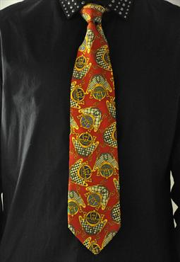 Vintage Patterned Silk Tie by Longchamp