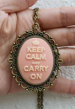 Handmade pink colour Keep Calm pendant necklace