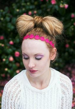 Pink Daisy Headband, Hippie Hair Accessory, Floral Headband