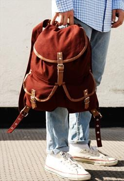 BNWT Military Style Burgundy Canvas Rucksack