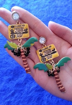 Colourful Jewelled Coconut Tree Earrings