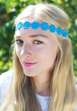 Bright Blue Daisy Headband