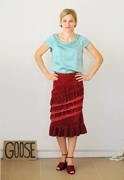 Vintage 90's red velvet ruffled skirt