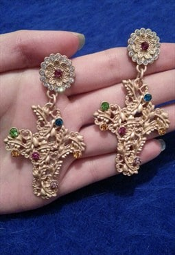 Luxury Gold Baroque Jewelled Flower Earrings