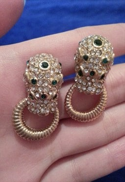 Premium Jewelled Leopard Earrings
