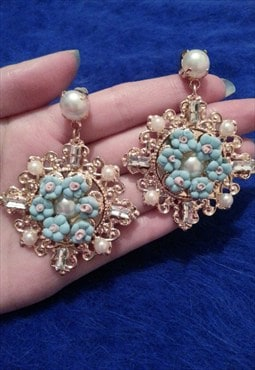 Luxury Gold Baroque Jewelled Flowers Earrings
