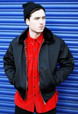 New Fur Collar Black Harrington Bomber Jacket