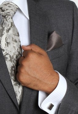 Wilderness Monochrome Marble Print Silk Tie Set