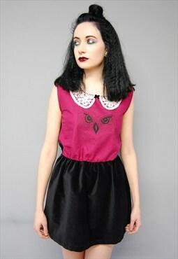 Midnight Owl Velvet Collar Dress