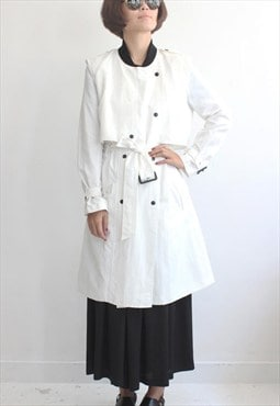 Contrast Ribbed Collar L/S Trench Coat