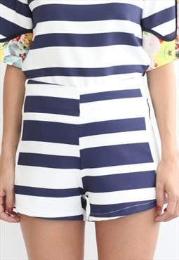 Nautical Mismatched Stripe High Rise Shorts (Shorts Only)