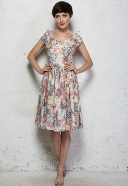Vintage 1950s Style Floral Metallic Prom Dress - Was £64