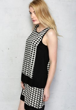 1960s Style Houndstooth Print Dress - Was £45