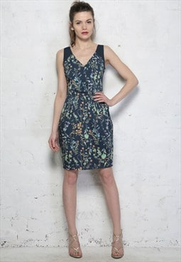 Blue Floral Print Wiggle Pencil Dress - Was £49