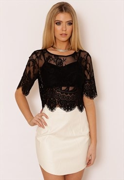 Black Eyelash Lace Mesh Delicate Evening Crop Top