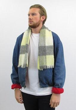 Vintage Block Check Shetland Wool Scarf