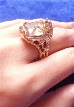 14K Gold Plated Jewelled Carved Ring