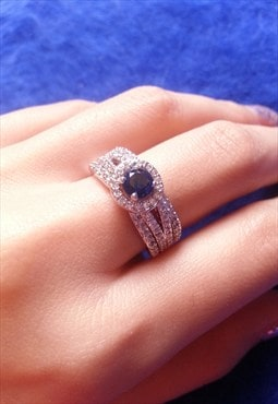 14K White Gold Plated Rhinestone Ring