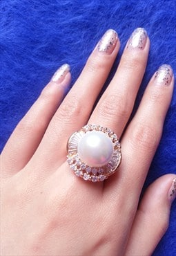 14K Gold Plated Jewelled Pearl Ring
