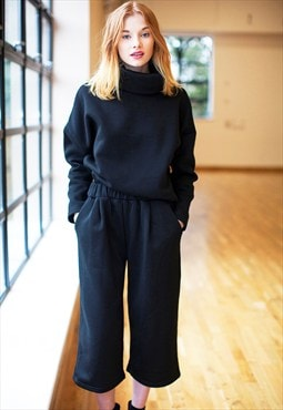 High Neck Sweatshirt & Culotte Trouser Co-Ords - Black