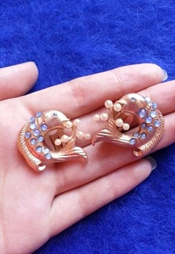 80s Vintage Gold and Pearls Golden Fish Clip Ons Earrings