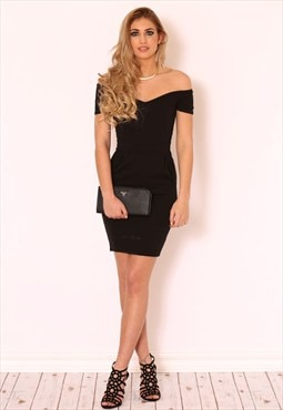 ALYSSA Black Bardot Dress