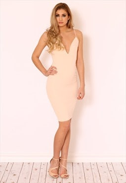 BELLA Nude Pink Plunge Dress