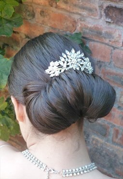 Crystal bun hair comb
