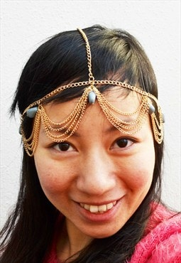 Bohemian style gold colour headpiece with turquoise stones