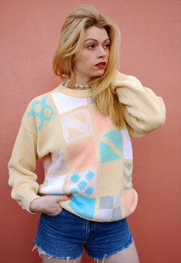 90's retro Mod pastel abstract knit jumper top