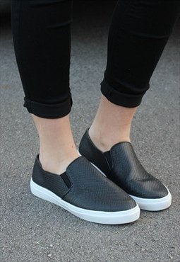 Black Mock Crock Skater Pumps
