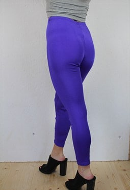 Bright purple high waisted lycra leggings