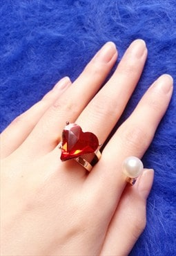 Exaggerate Red Heart Jewelled Ring