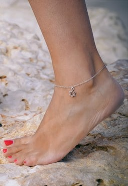 Silver star of David anklet, chain ankle bracelet, Judaism