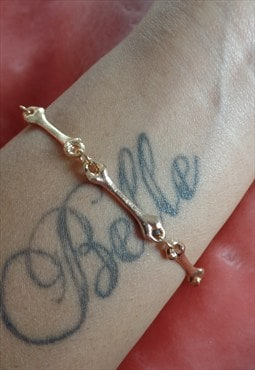 Gold Plated Lovely Bones / Skeleton Bracelet. Pretty Punk