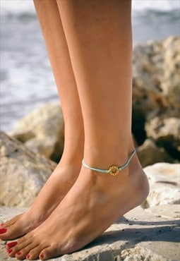 karma anklet, gold braided circle, turquoise ankle bracelet