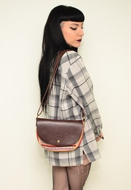 Vintage 90's Brown Leather Hippie Boho Bag