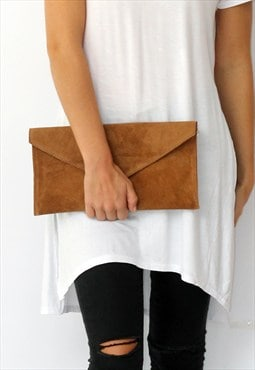 RESTOCKED Tan Suede Envelope Clutch Bag