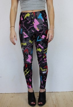 Crazy neon print high waisted 80s leggings